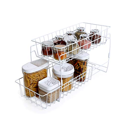 (Smart Design 2-Tier Stackable Pull Out Baskets - Sturdy Wire Frame Design - Rust Resistant Vinyl Coat - for Pantries, Countertops, Bathroom - Kitchen (18 x 11.75 Inch) [White])