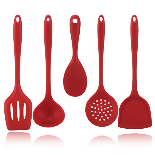 Gietinor Silicone Kitchen Utensils Set(5 Piece),Cooking Tools With Spatulas,Slotted Spoon,Withstand High Temperature To…