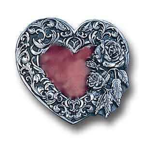 Pewter Belt Buckle - Heart Rose and Leaf Border (Diamond Cut)