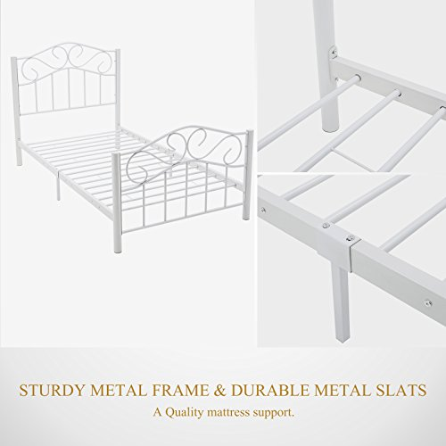 mecor Twin Curved Metal Bed Frame/Mattress Foundation/Platform Bed for Kids Girls Boys Adults with Steel Headboard Footboard,No Box Spring Needed,White/Twin Size