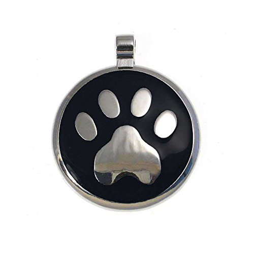 (LuckyPet Pet ID Tag: Paw Print Jewelry Tag - Custom Engraved Cat Tags and Dog Tags -Size: large, Color black)