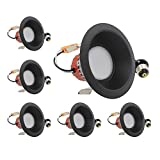 ESD Tech 6 Pack of 4'' Inch LED Dimmable Recessed Downlight Trim, Black Round Smooth Retrofit, 2700K, 650 Lm, 9W, 120V, Energy Star, ETL Listed, Indoor/Outdoor Rated