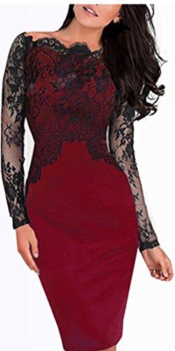 HOMEYEE - Vestido - Túnica - Manga Larga - para mujer 803 Rojo