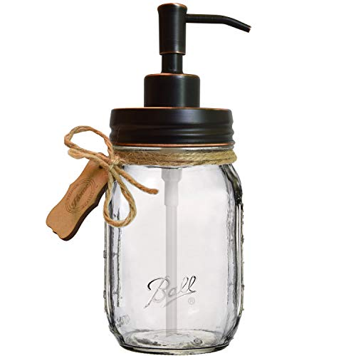 "Premium Home Quality Rustproof Stainless Steel Mason Jar Soap Pump/Lotion Dispenser - Includes Iconic, Vintage Smooth ""Ball"" (Regular Mouth) 16 oz Glass Mason Jar (16 Ounce, Oil Rubbed Bronze Pump)"