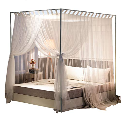 Mengersi Simple 4 Corners Post Curtain Bed Canopy Bed Frame Canopies Net,Bedroom Decoration Accessories(King,White)