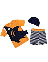 Bebamour Baby Swimwear Summer Short Sleeve Swimsuits Two Pieces Boys Casual T-Shirts Rash Guard Size S-L Shark