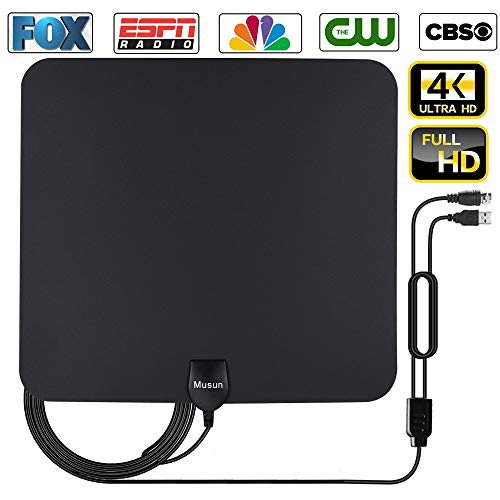 [2019Indoor Antenna] TV Antenna for Digital TV Indoor, 50-85 Miles Range Amplified HDTV Antenna with Detachable Signal Booster, USB Power Supply for TV with All Local Broadcast 4K/HD/VHF/UHF Signal Ch