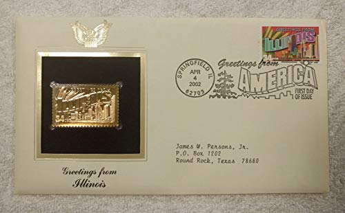 Greetings from Illinois - FDC & 22kt Gold Replica Stamp plus Info Card - Greetings from America Series (Postcard Theme) - Postal Commemorative Society, 2002 - The Chicago Skyline, the Sears Tower, Corn