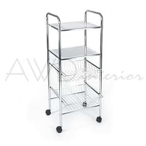 AWD - Estantería con ruedas para baño (metal, 2cestas, 4 niveles, cromados)