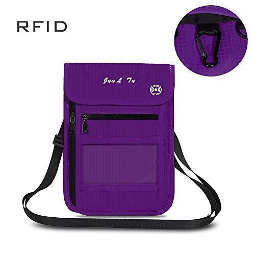 (ROOSALANCE Travel Neck Pouch Neck Stash Wallet with RFID Blocking Premium Family Passport Holder Travel Document Organizer Pouch Keep Your Cash and Documents Safe for Men and Women (Purple))