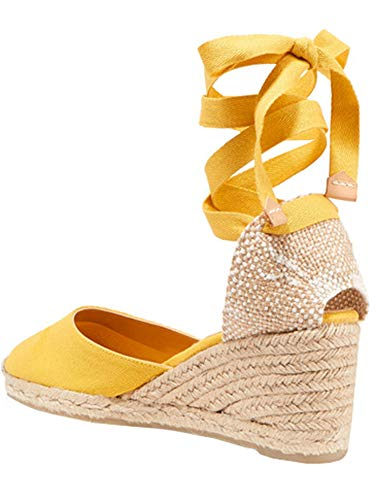 Yellow Ankle Strap - Womens Closed Toe Lace Up Espadrille Platform Wedges Sandals Shoes Canvas Ankle Tie Strap Dress Shoes Yellow