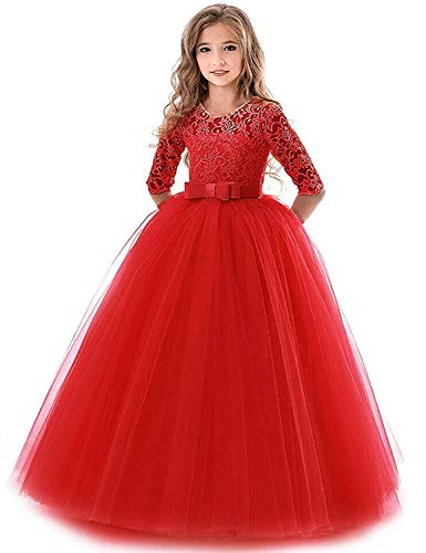 (Girls Vintage Floral Lace 3/4 Sleeves Floor Length Party Fall Evening Formal Bridesmaid Prom Dance Gown Red 11-12)