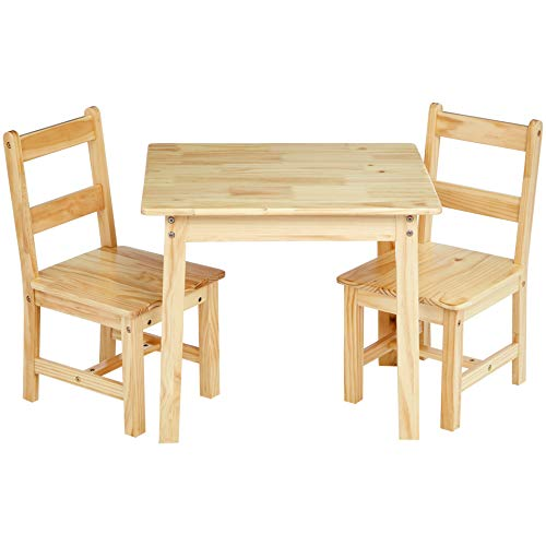 AmazonBasics Kids Solid Wood Table and 2 Chair Set, - Desk Solid Wood Chair