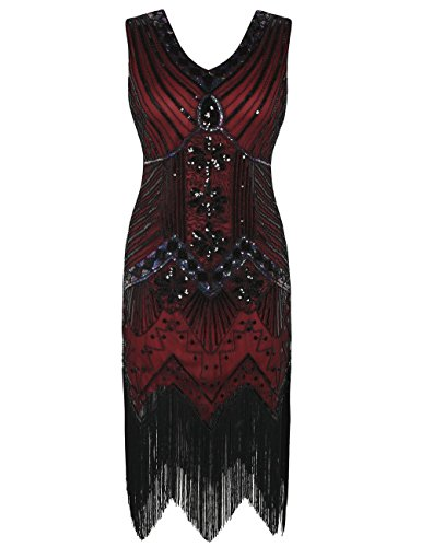 (kayamiya 1920s Gastby Dress Sequin Art Nouveau Embellished Fringed Flapper Dress 3XL Red)