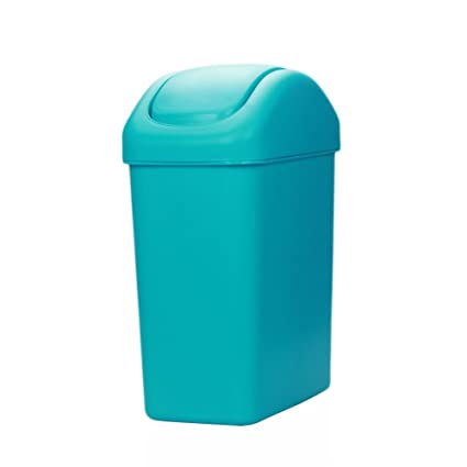 Hflove Plastic Trash Can Thicken Kitchen Trash Bin with Swing Top Lid ,2.1  Gallon (Blue)
