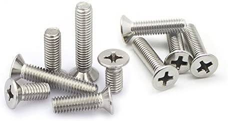 M8 Phillips Flat//Countersunk Head Machine Screws,A2 Stainless Steel,Thread Length 12 to 100mm,Pack 10-Piece M8 x 100mm