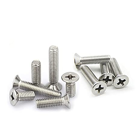 M1.6 x 6mm M1.6 Phillips Flat//Countersunk Head Machine Screws,A2 Stainless Steel,Thread Length 3 to 16mm,Pack 100-piece