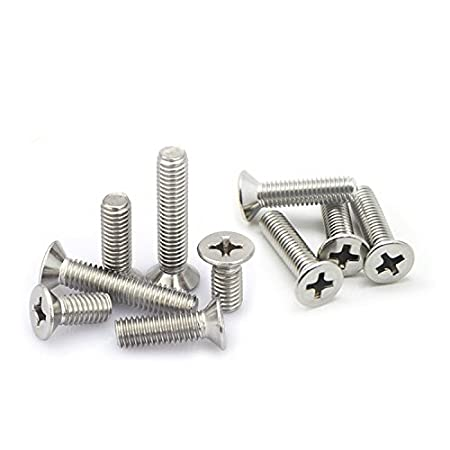 #4-40 x 1//2 #4-40 Phillips Flat//Countersunk Head Machine Screws,A2 Stainless Steel,Thread Length 3//16 to 1-1//2,Pack 100-piece