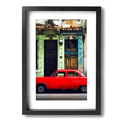 (Rolandrace Havana Cuba City Urban Buildings Car Auto -Photo Paintings A4 Size Wall Art Contemporary Decorative Giclee Artwork Wall Decor-Wood Frame Ready to Hang)