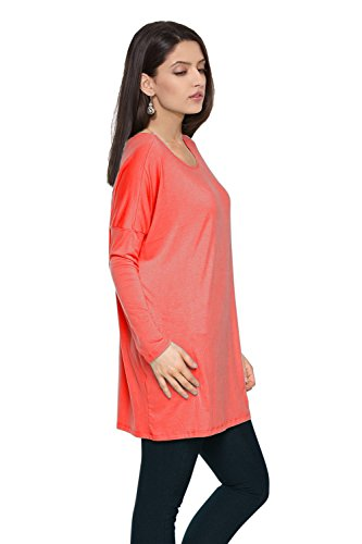 Oversized Long Sleeve Loose Fit Bamboo Long Tee Shirt Tunic Top for Women Dk.Peach S