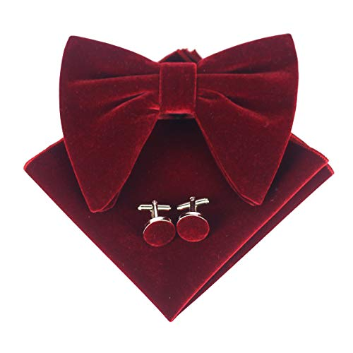 Levao Mens Velvet Bow Tie Vintage Tuxedo Big Bowtie & Cufflinks & Pocket Square Set RB002T-J Burgundy