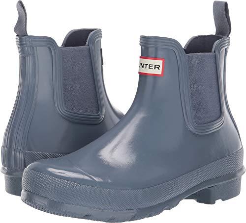 Hunter Women's Original Chelsea Gloss Rain Boots Gull Grey 6 M US