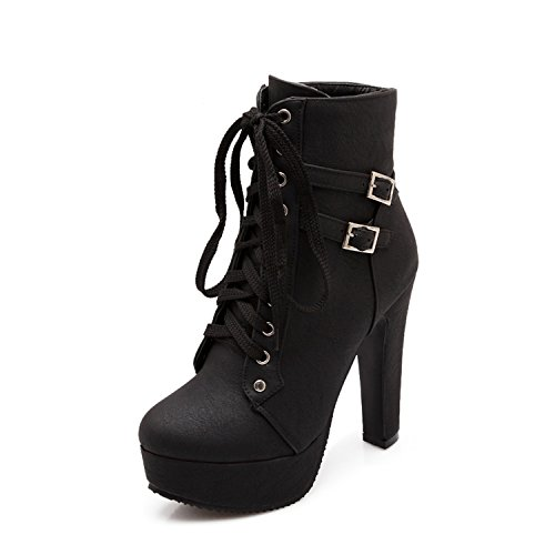 Odetina Black&c-3 Women's Sexy Platform Chunky High Heels Lace-up Buckle Strap Ankle Boots Size 8.5 (B) M US