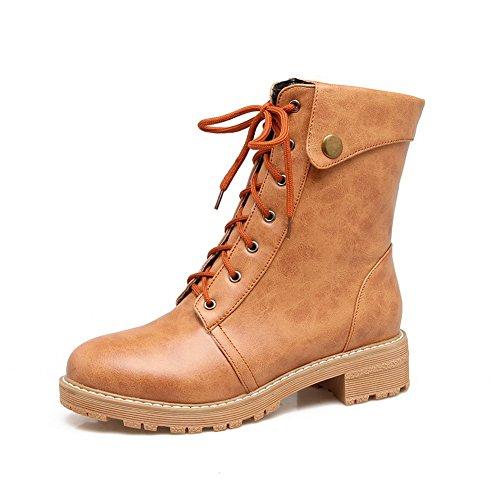 BalaMasa Womens Casual Retro Slip-Resistant Urethane Boots ABL10333 Yellow