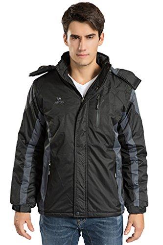 Men's Winter Warm Fleece Lined Ski Coats Outdoor Hooded Waterproof Parka Jacket Black US Large / Asian 4XL