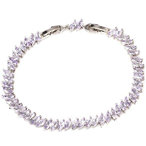 Cubic Zircon Oval Stretch Bracelet Strand Bracelet CZ Bangle Bracelet with A Clasp Women Jewelry Accessory (Purple) by UMOMO
