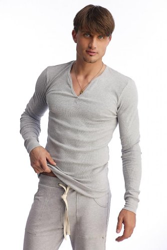 4-rth Thermal V-neck L/S-Heather Grey-L Eco Heather V-neck Shirt