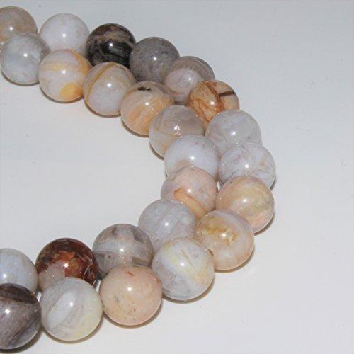 Lynxus Bamboo Leaf Agate Gemstone Loose Beads 8mm 46 Beads Per 15.5