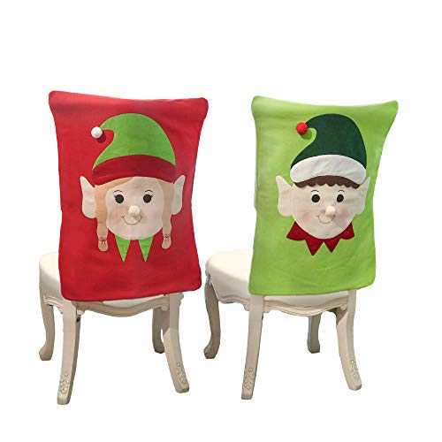 Valery Madelyn Set of 2 Joyful Christmas Elf Chair Covers, Chair Back Covers for Dinning or Kitchen Decorations for Christmas -