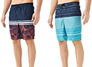 TEXFIT 2-Pack Quick Dry Swim Trunks for Men with Mesh Lining and Pockets (2pcs Set)