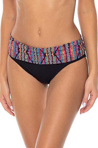 Sunsets Women's Unforgettable Shirred Band Bikini Bottom Swimsuit, Playa Stripe, Medium