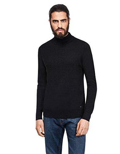 Vincenzo Boretti Men's Sweater with ribbed turtle-neck, slim-fit,black,Medium