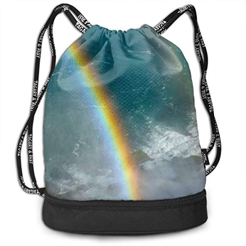 YyTiin Double Rainbow at Niagara Falls Unisex Waterproof Drawstring Backpack Sports Dance Storage Bags Sackpack Gym Traveling Outdoor -