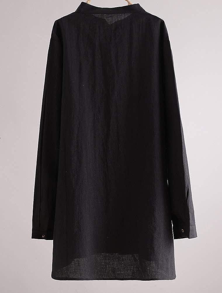 FTCayanz Donna Camicia Cotone Lino Manica Lunga Blusa Elegante Camicette con Collo alla Coreana