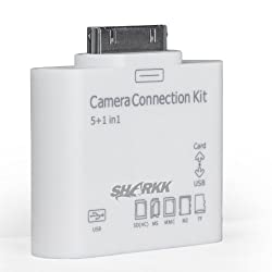 SHARKK 5 in 1 Card Reader Camera Kit Connects Cameras, USB, & Memory Cards To The Apple iPad, iPad2 And The New iPad3