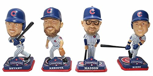 FOCO MLB Chicago Cubs 2016 World Series Champions Mini Bighead Bobble (4 Pack), 3.5'' by FOCO