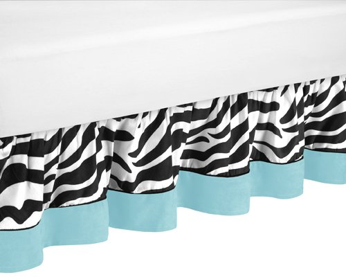 Sweet Jojo Designs Queen Bed Skirt for Turquoise Funky Zebra Bedding Sets Funky Bedskirt