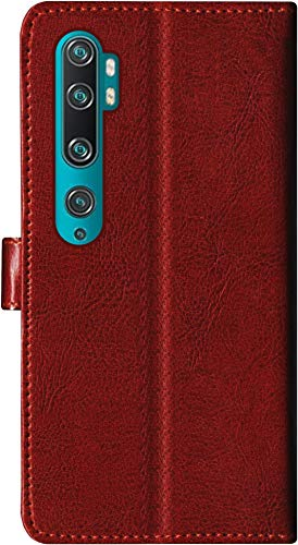 SBMS Leather Flip Cover for Mi Note 10 Pro  Brown