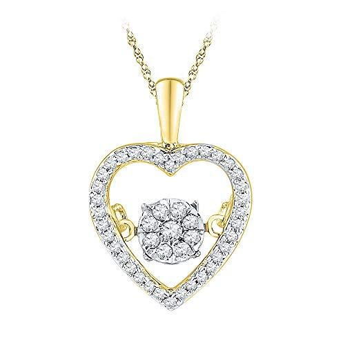 - 10kt Yellow Gold Womens Round Diamond Cluster Moving Twinkle Heart Pendant 1/5 Cttw