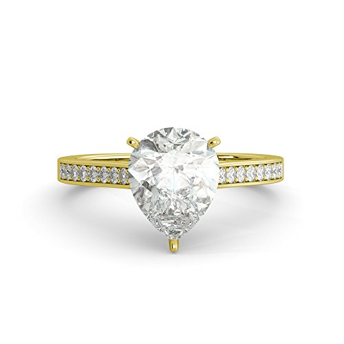 - 2.49 tcw Pear Cut Charles & Colvard Forever One Moissanite & Round Diamond Vintage euro shank Solitaire Engagement Ring Solid 14k White Yellow Rose Gold