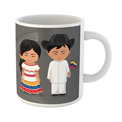 Emvency Funny Coffee Mug Venezuelans in National Dress Flag Man and Woman Traditional Costume Travel 11 Oz Ceramic Coffee Mug Tea Cup Best Gift Or -