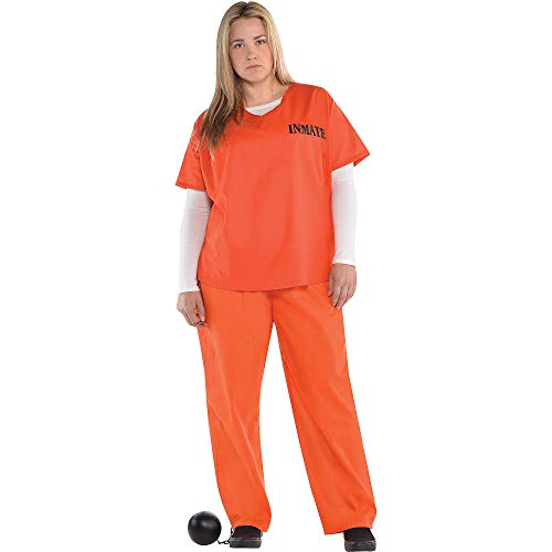 Orange Prisoner Costume for Women, Plus Size, by Amscan ()