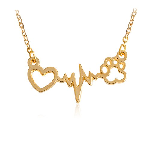 Kebaner Gold Wavy line Electrocardiogram ECG Necklace Forever Love Heart Dog Cat Bear Puppy Paw Pendant Necklace
