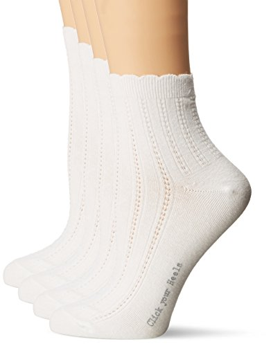 Ladies Fashion Anklets - HUE Women's Scalloped Tipped Sock 4 Pack, White, One Size (4-10)