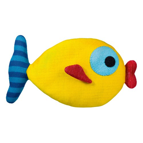 Grasslands Road Yellow Knit Kissing Fish Pillow, 8 by 14-Inch