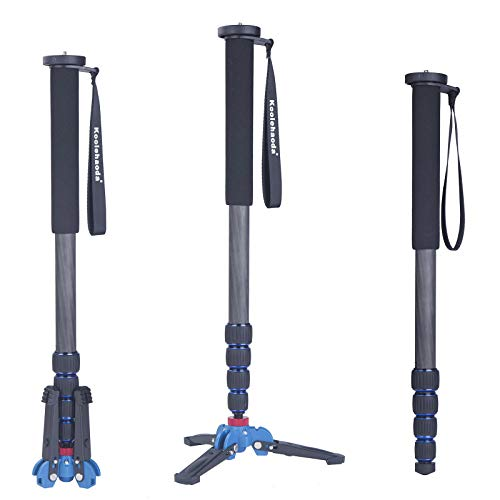 Koolehaoda Professional 65-inch Camera Carbon Fiber Monopod with Folding Three Feet Support Base for All Canon Sony, Nikon